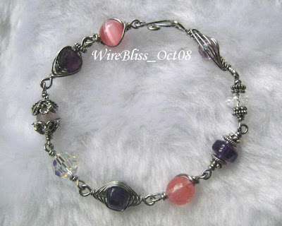 Pink, Purple and White Themed Wire Wrapped Bracelet
