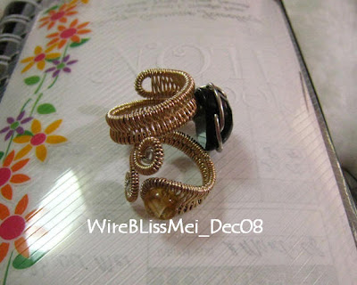 2 adjustable wire wrapped rings with stainless steel and gold filled wire