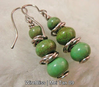 wire wrapped earrings - turquoise