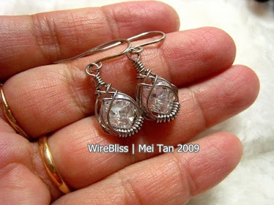 Holding the Wire Wrapped Caged Earrings