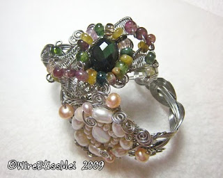 braided wire cuff with gemstones and pearl