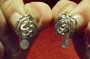 wire wrapped rose earrings by Dana