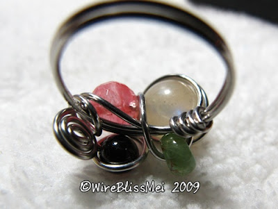 Wire Wrapped Multi gemstone Ring