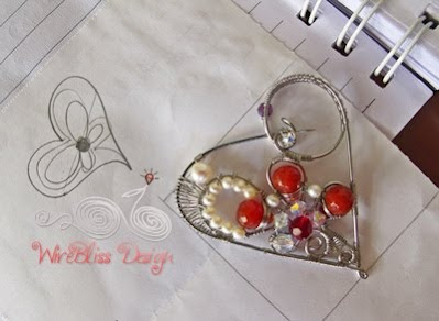 wire wrapped Heart brooch with pearl, agate and swarovski crystals