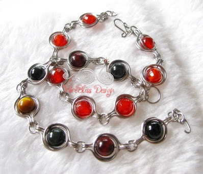 2 Twice Around the World (TAW) Wire Wrap Bracelets with tri-color tiger eyes and red agate