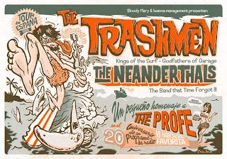 Cartel de la gira de The Trashmen + The Neanderthals (Madrid, Barcelona, Gijón)