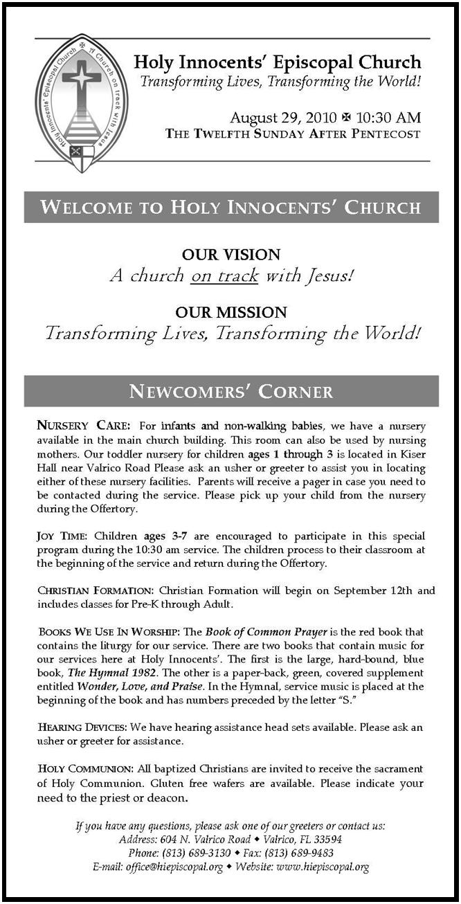 The Rector's Corner: Introducing the New Bulletin