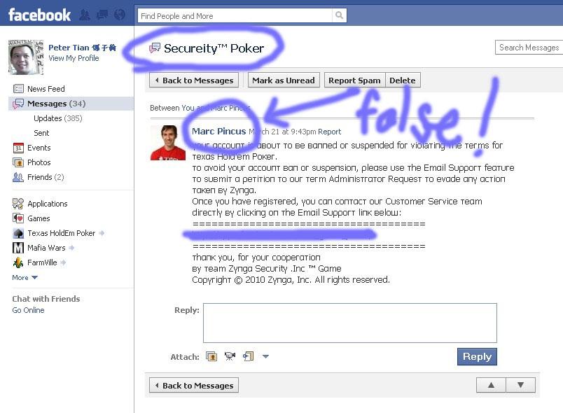Tian Facebook scam Blog Zynga Poker Message Warning For