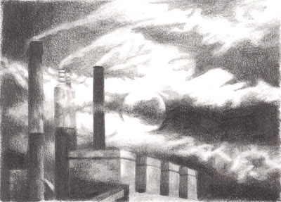 Coal Plant, drawing by Marie Wise