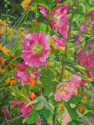 Hollyhocks, original oil painting by Marie Wise