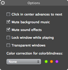 preferences panel from the mac game Frenzic, which includes options to compensate for colorblindness