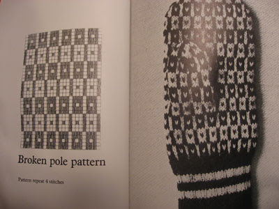 a 4x5 stitch 'broken pole' pattern for knitting