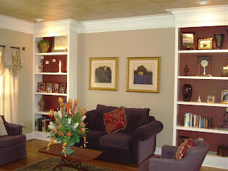 Formal Living Room with built-in bookcases adjoins the Formal Dining Room