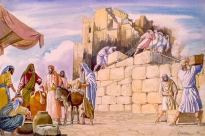 Altar judío en construcción