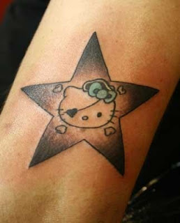 hello kity star tattoo body designs