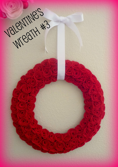 Tutorial for making a felt roses Valentine wreath