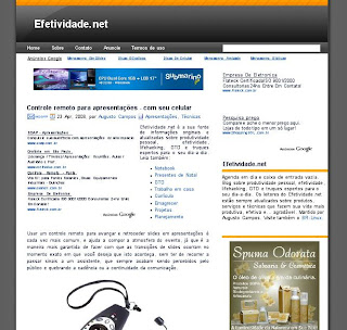 Captura de tela - Efetividade.net - Controle remoto para apresentações com seu celular
