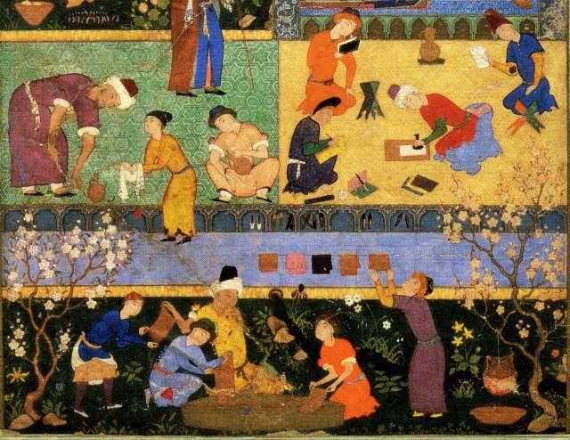 Miniature persane, détail de Majnun à l'école, 1524-1539