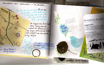 collage and mixed media travel journal page by Bronwyn Simons, teacher of Artful life mixed media and creative journaling workshops for women , focusing on creativity and life balance