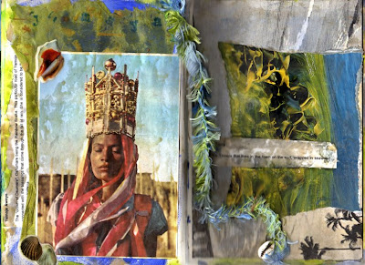 collage and mixed media altered book page by Bronwyn Simons, teacher of Artful life mixed media and creative journaling workshops for women , focusing on creativity and life balance