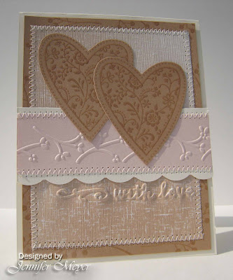 "My fist card card was made using the NEW Cuttlebug embossing folder ""Just My"