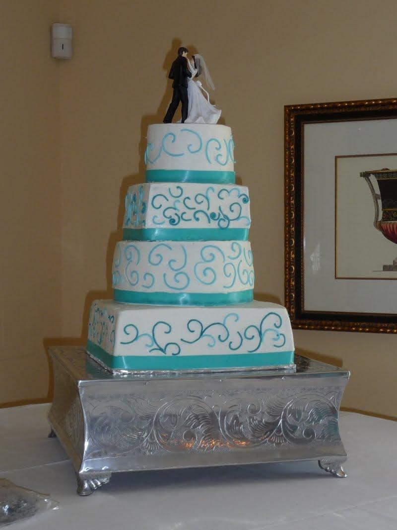 Teal Ribbon Wedding Cake