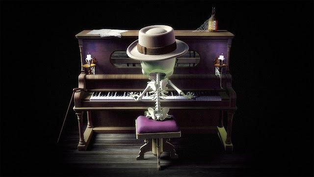 Calavera tocando el piano