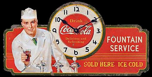 dibujo color cocinero con reloj de coca cola vintage