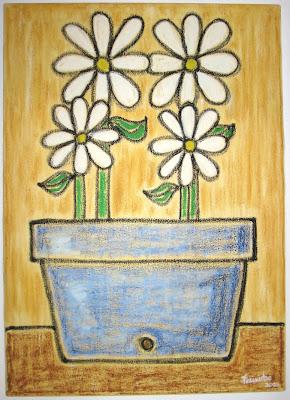 Pintura: Vaso com Flores´- Óleo sobre tela