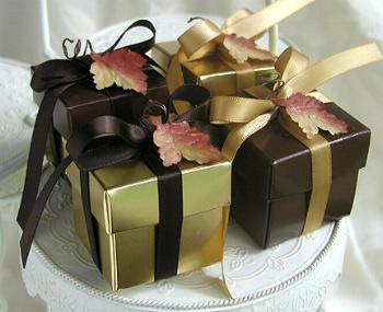Laptop Bride Online Wedding Planning: Autumn Gold or Brown Candy Filled Boxes ... Fall, Thanksgiving Weddings! :  tea wedding autumn fall