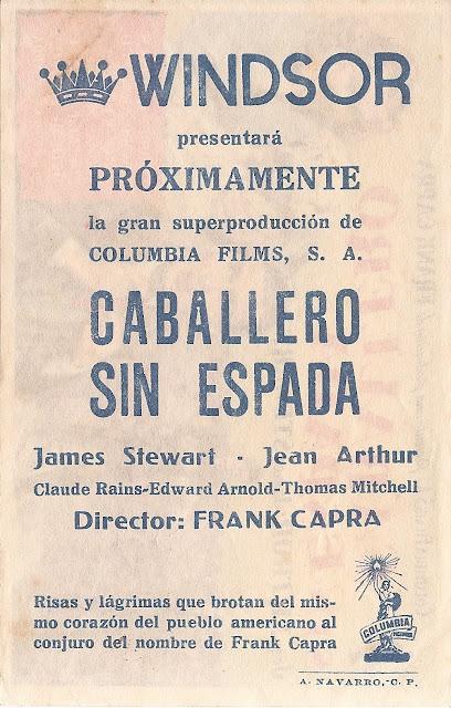 Programa de Cine - Caballero Sin Espada - James Stewart - Jean Arthur - Claude Rains