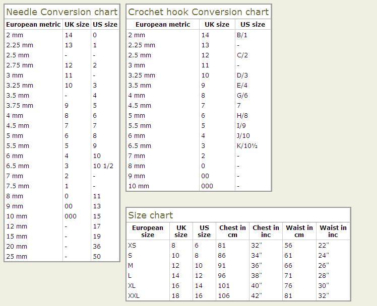 Общество любителей вязания  Таблица соответствия размеров спиц, крючков 7505567d0d5