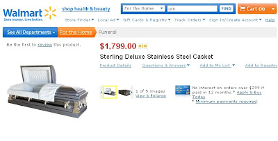 Get Great Deals on Caskets and Urns at    Walmart