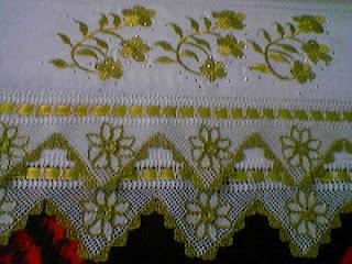 simli dantel havlu kenarı