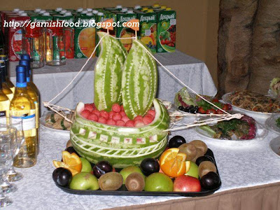 watermelon boat carving basket