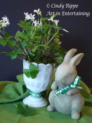 St Patrick's Day, Shamrock Centerpiece, Bunny statue, Irish Blessing, Florals-Family-Faith, Cindy Rippe