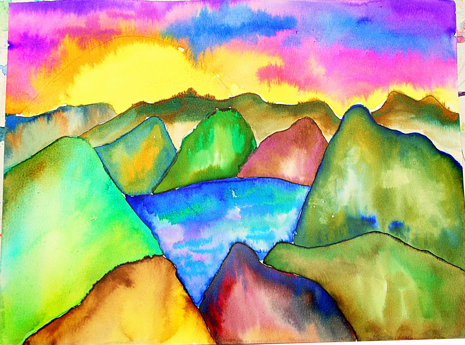 Smart class watercolor landscapes for Simple watercolor paintings for kids