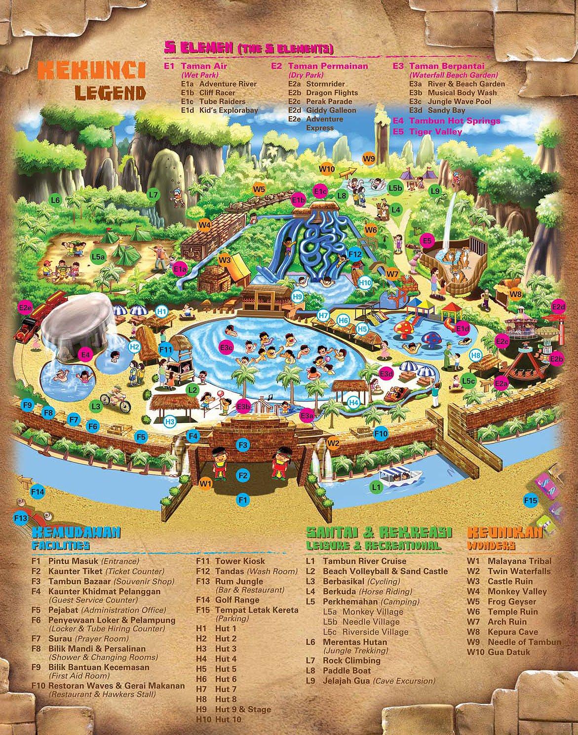 Lost World of Tambun Theme Park Location Map
