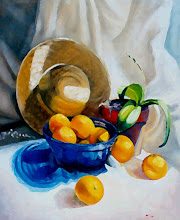 Oranges in a Cobalt Bowl