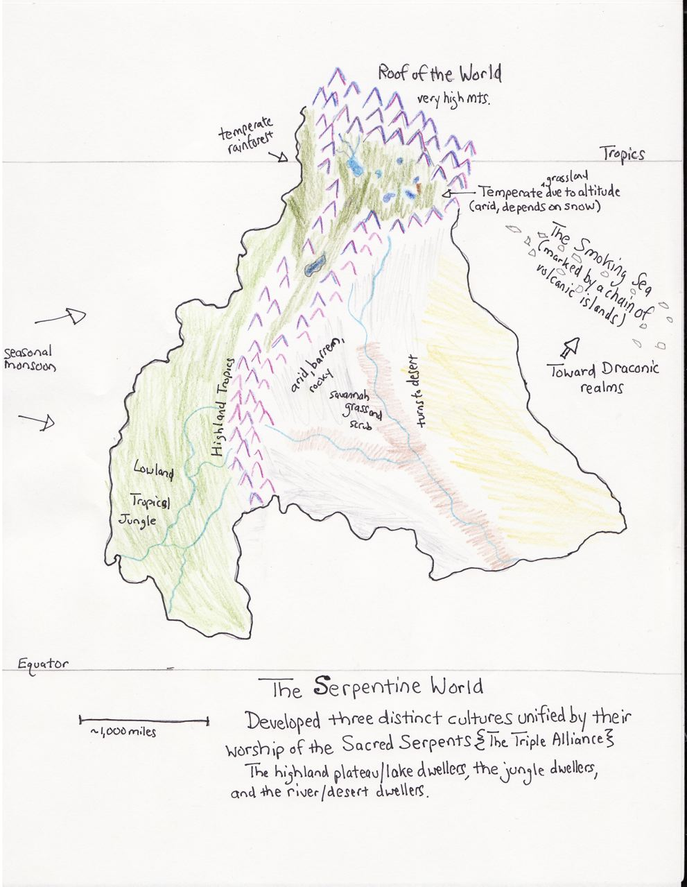 one hand clapping drawing some maps Mountain Ranges in Asia this one for the serpentine civilization has a huge andean or himalayan style mountain range with glaciers and a high temperate plateau dominated by a pair