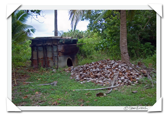 picture photograph image Walking through a Fijian Plantation: coconut drier 2008 copyright of sam breach http://becksposhnosh.blogspot.com/