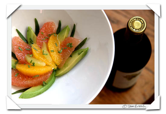 picture photograph recipe how to make 3 citrus salad with tarragon avocado and almond oil 2007 copyright of sam breach http://becksposhnosh.blogspot.com/