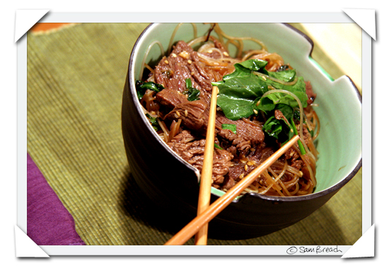 picture photograph of Honey & Sesame Beef with Rice Sticks picture copyright of sam breach http://becksposhnosh.blogspot.com/