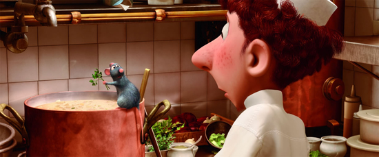 picture photograph Still from Ratatouille of Remy and Linguini used in the movie by Pixar 2007 copyright of Disney and Pixar used with permission by sam breach http://becksposhnosh.blogspot.com/
