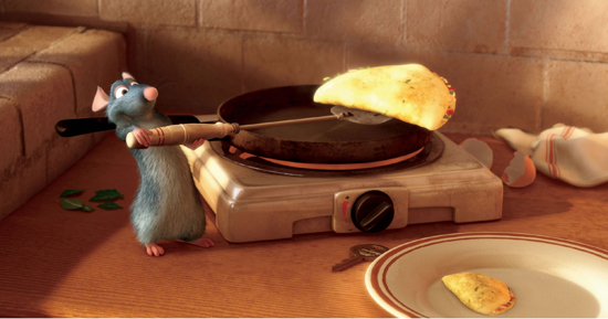 picture photograph Still from Ratatouille of Remy and omlette used in the movie by Pixar 2007 copyright of Disney and Pixar used with permission by sam breach http://becksposhnosh.blogspot.com/