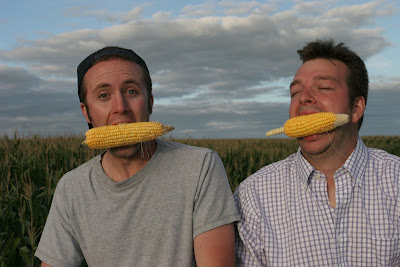 picture photograph image picture photograph image Ian Cheney (left) and Curt Ellis taste their harvest in Greene, Iowa. Photograph by Sam Cullman 2007 copyright http://www.kingcorn.net/ 2007 copyright of sam breach http://becksposhnosh.blogspot.com/