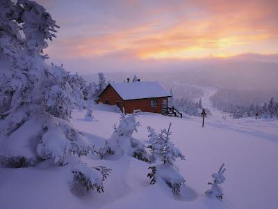 Vakantiehuisje in de winter