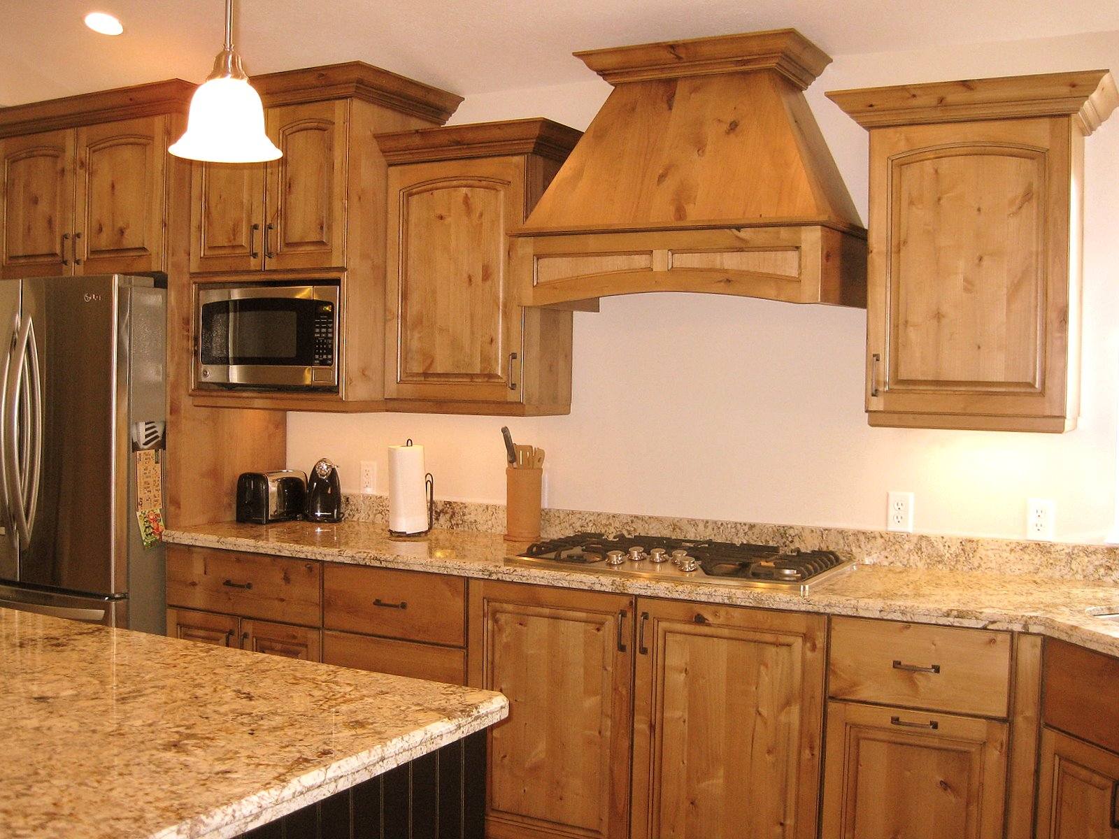 Alder Cabinets Kitchen Espresso Table Lec With Bead Board Island