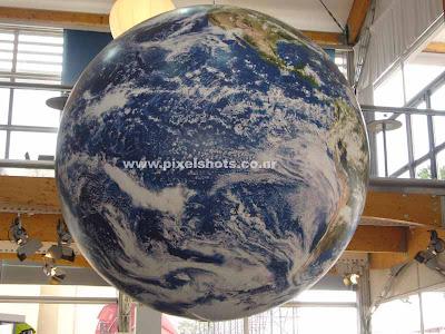 huge globe hung down at volvo autoshow venue photo from cochin kerala, big globe, hanging globe