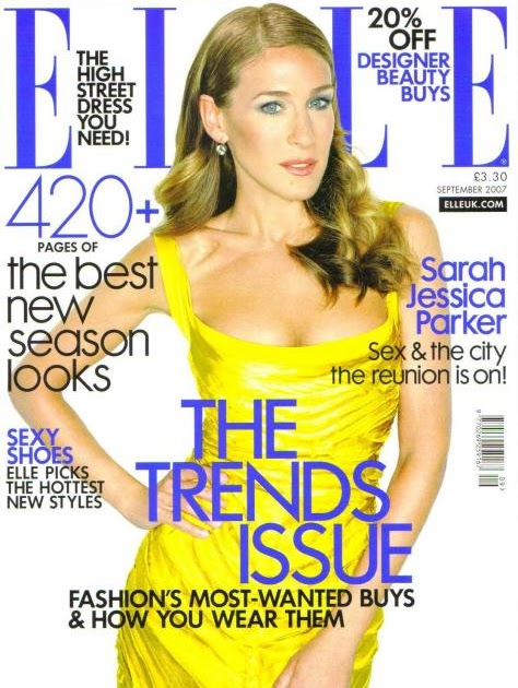 Glitzy bits: Sarah Jessica Parker on Elle september issue.